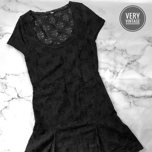 Free People Lacy Overlay Black Cap Sleeve Dress